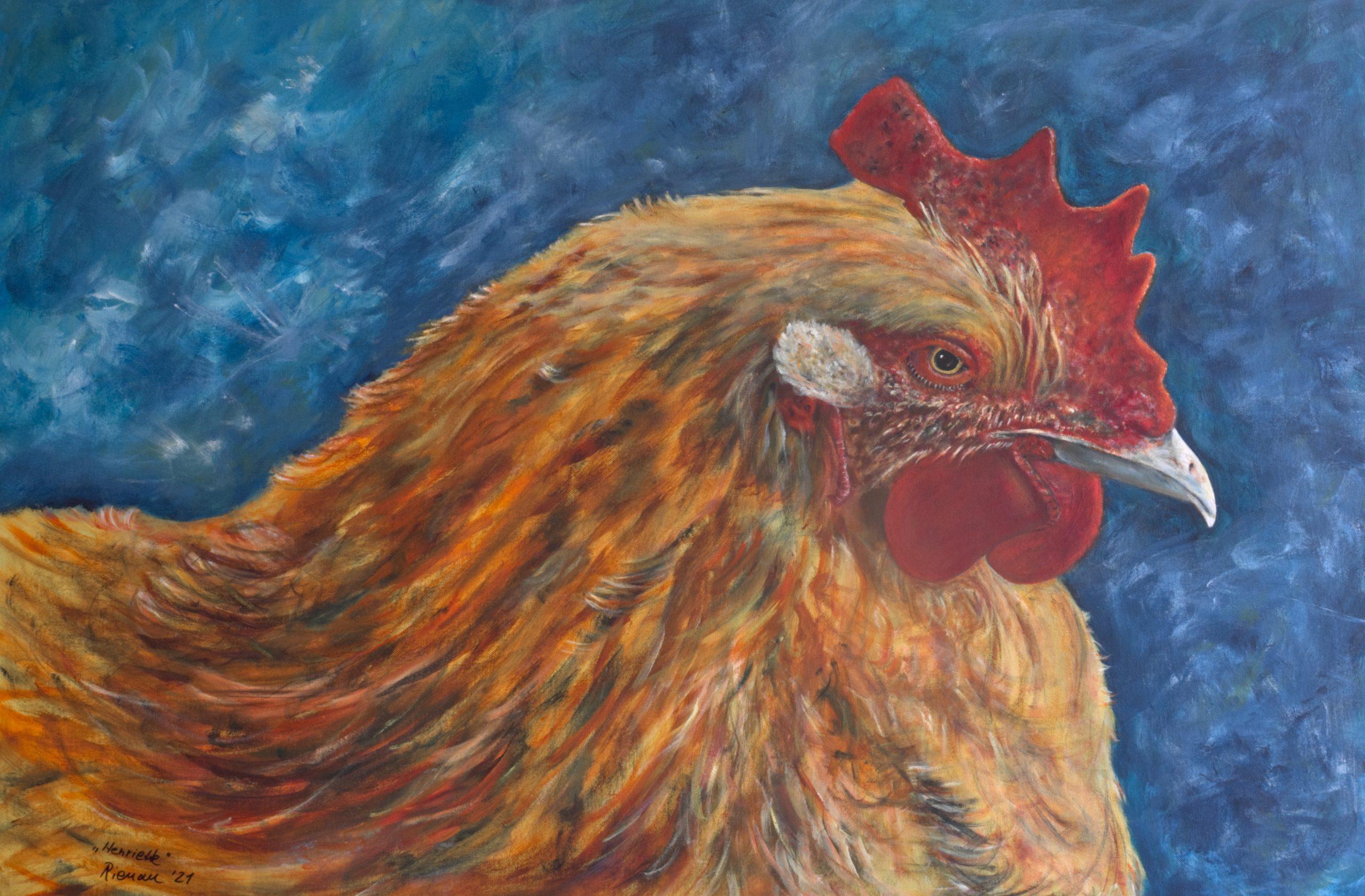Huhn, Acryl auf Leinwand